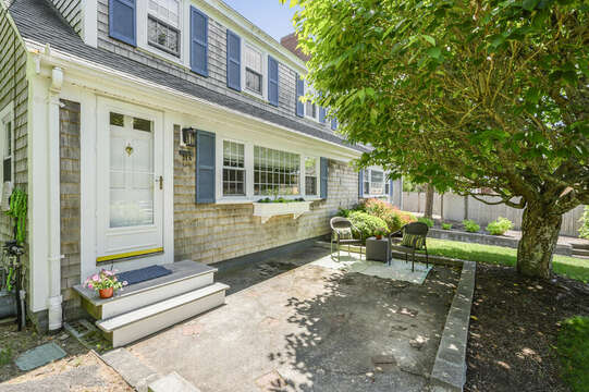 Entry and quaint sitting area to enjoy morning coffee -21 Pine Street- Harwichport- Cape Cod- New England Vacation Rentals