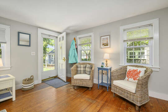 Entry door and seating at-21 Pine Street- Harwichport- Cape Cod- New England Vacation Rentals