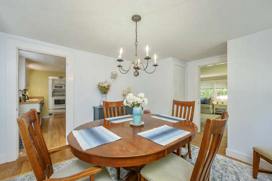 Dining room with entrance to kitchen-21 Pine Street- Harwichport- Cape Cod- New England Vacation Rentals