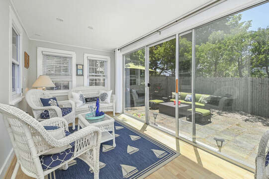 Sun room with entrance to patio- -21 Pine Street- Harwichport- Cape Cod- New England Vacation Rentals