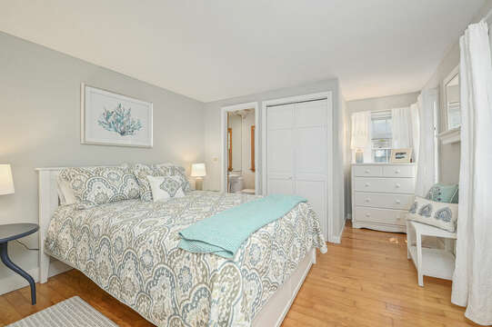 Bedroom  # 1 Queen bed dresser and ensuite bath room #1 with stand up shower-21 Pine Street- Harwichport- Cape Cod- New England Vacation Rentals