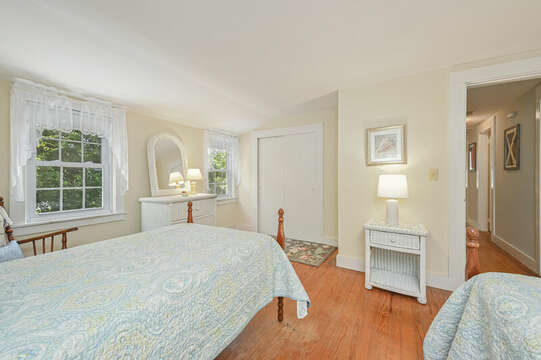 Bedroom #2 with 2 Twin beds, dresser and closet-21 Pine Street- Harwichport- Cape Cod- New England Vacation Rentals