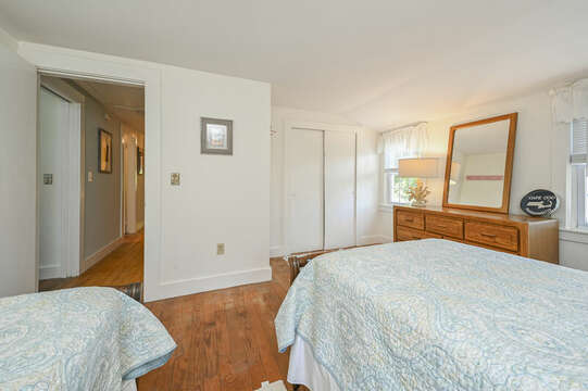 Bedroom #7 with 2 Twin beds, dresser and closet at-21 Pine Street- Harwichport- Cape Cod- New England Vacation Rentals