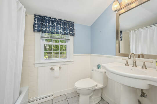 Bathroom # 3 full shower tub combo, pedestal sink and closet-21 Pine Street- Harwichport- Cape Cod- New England Vacation Rentals