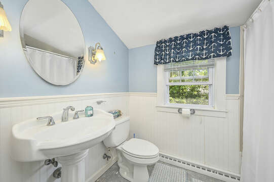 Bathroom # 2 full shower tub combo, pedestal sink and closet-21 Pine Street- Harwichport- Cape Cod- New England Vacation Rentals