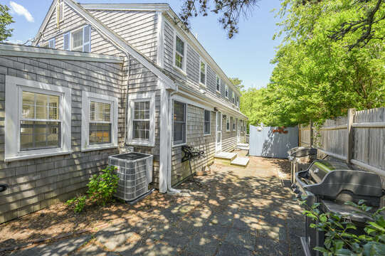 Backyard patio grill and outdoor shower-21 Pine Street- Harwichport- Cape Cod- New England Vacation Rentals