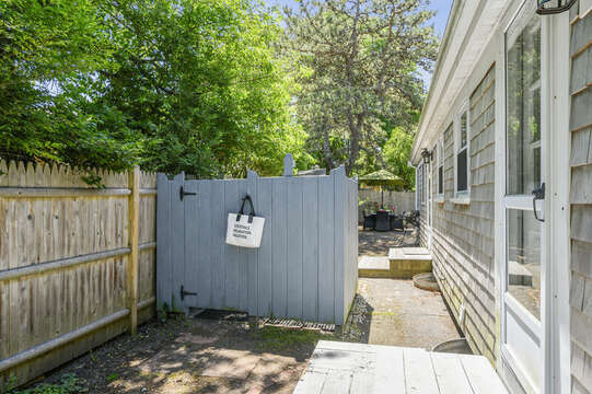 Out door shower at-21 Pine Street- Harwichport- Cape Cod- New England Vacation Rentals