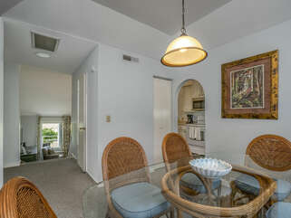 Dining and kitchen areas on top level