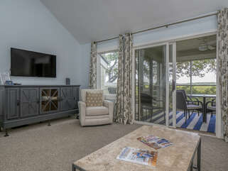 Sliding door leads to screened porch