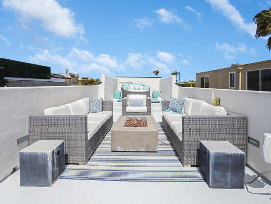Roof Deck w/ Fire Pit, Seating & Canopy Daybed