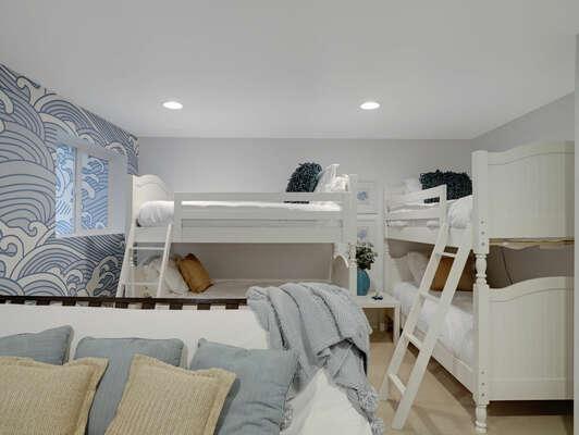 Guest Bedroom w/ 2 Twin Over Twin Bunks + Full Futon - 1st Floor