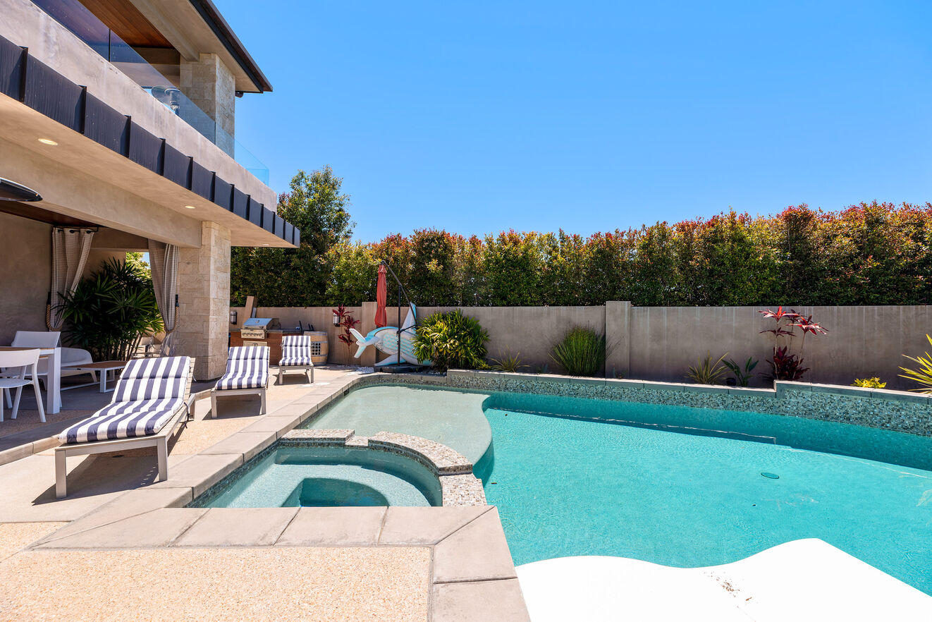 Pool with lounge area, outdoor dining and BBQ