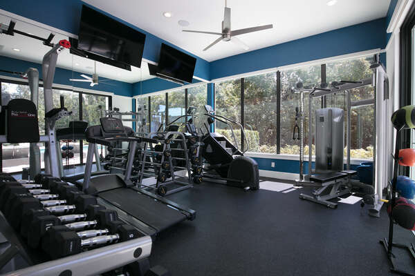 The gym equipped with multiple different exercise equipment