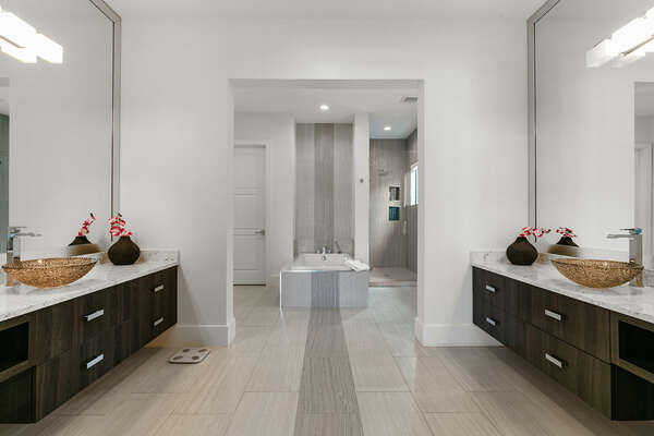 Ensuite bathroom with walk-in shower and garden tub
