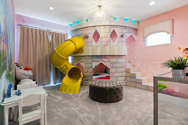 A bedroom fit for princesses, furnished with twin bed