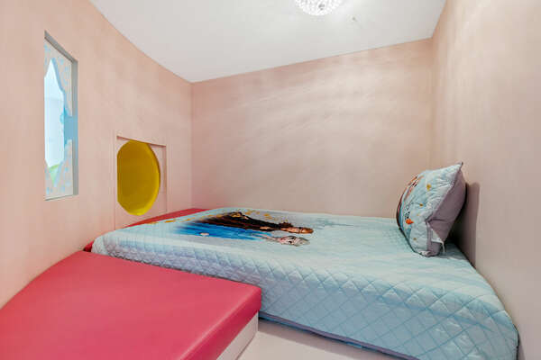 Princesses will feel at home in this bedroom