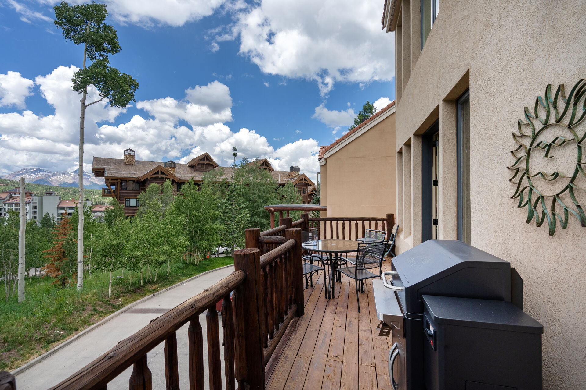 Wood balcony with gas grill
