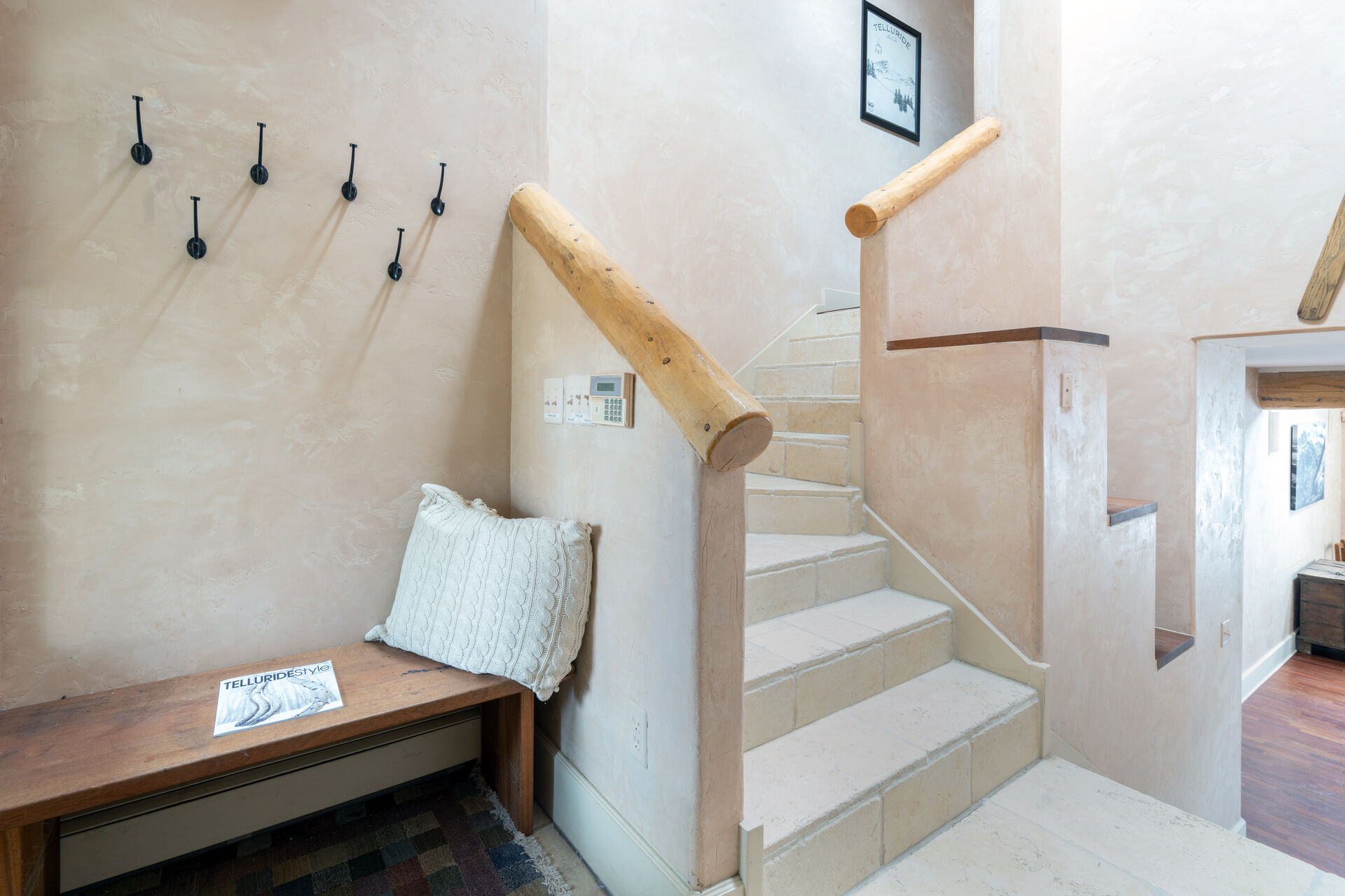 Stairwell with wood bannister