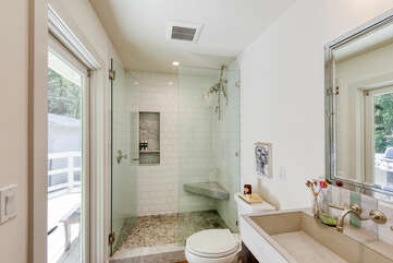 Ensuite master bathroom has access to a private deck