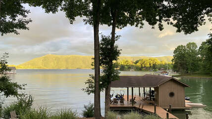 Enjoy this view all day or even at as the sun starts to set  with the lake reflecting off the mountain.
