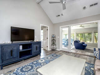 Large Smart TV, cathedral ceilings, and ceiling fans
