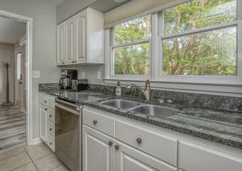 Large kitchen window lets you sneak a peek at some of the neighborhood deer