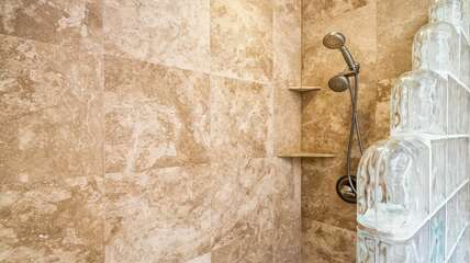 Walk-in shower in the Secondary Bathroom