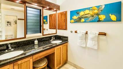 Primary bathroom with  dual sinks