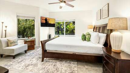 Primary bedroom with King bed, TV and Ceiling Fan