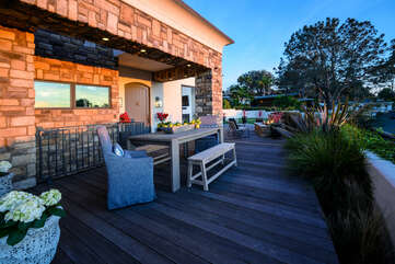 Front Patio dining and views of the ocean.