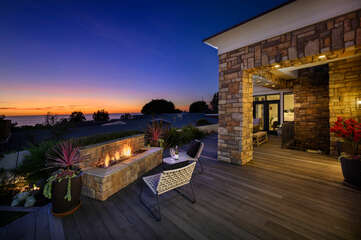 Relaxing patio with beautiful sunset views