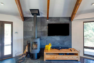 Light a fire in the wood-burning stove in the evenings and binge watch your favorite shows