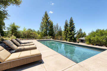Cool off in the spacious pool or relax poolside on the comfortable loungers