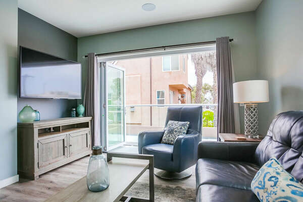 Living Room w/ Balcony & Sleeper Sofa - 2nd Level/Entry Level