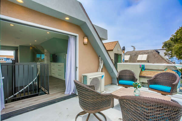 North Side Balcony Off Bedroom w/ Seating & Peek-A-Boo Ocean Views - 3rd Level