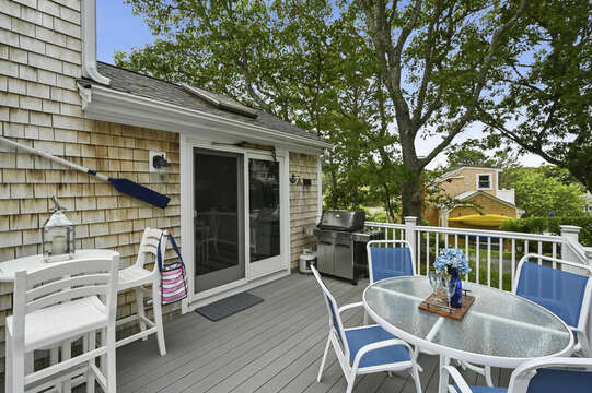 Deck off of main level with grill and extra dining -  26 Sea Mist Lane South Chatham Cape Cod - New England Vacation Rentals