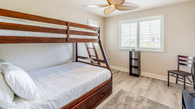 Third Bedroom has Bunk Beds with a Full and a Twin Mattress