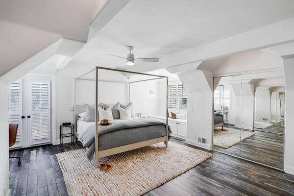 Large Master Bedroom w/ King Bed, WFH Desk, Private Balcony, & En-Suite Bathroom - 3rd Floor