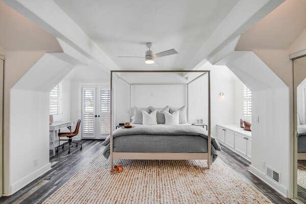 Master Bedroom w/ King Bed, WFH Desk, Private Balcony, & En-Suite - 2nd Level (3rd Floor)