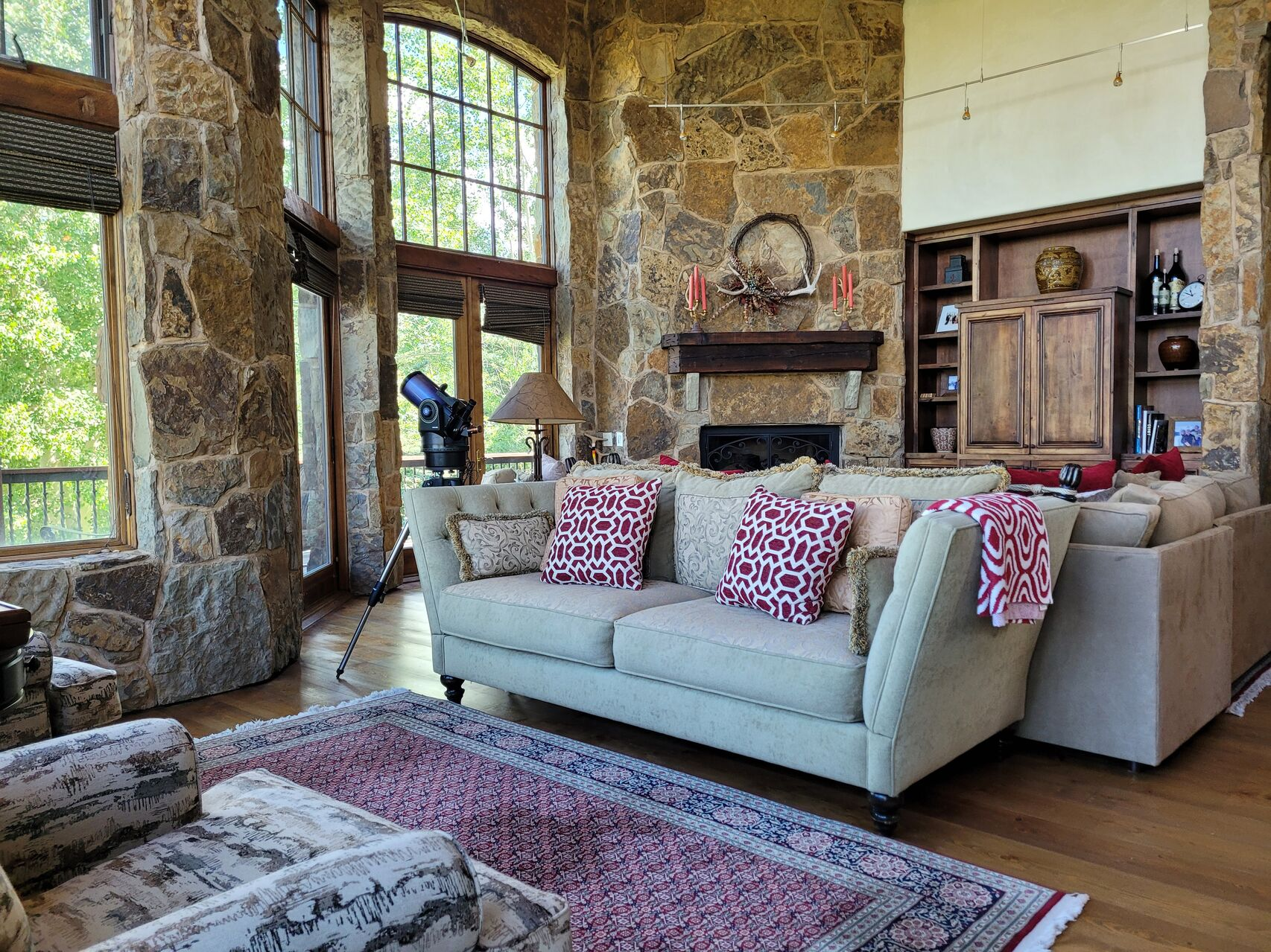 Cozy living room with stone walls