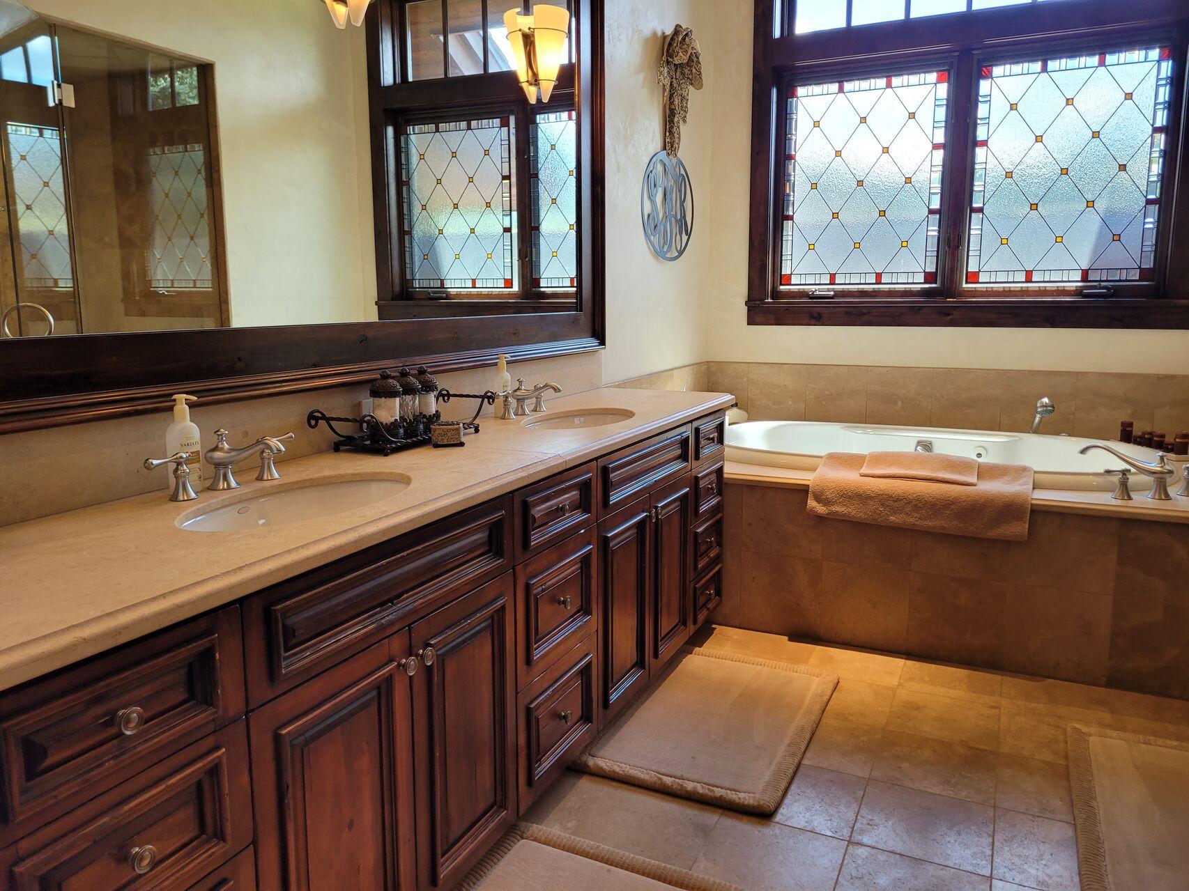 Large luxury bathroom with extended vanity