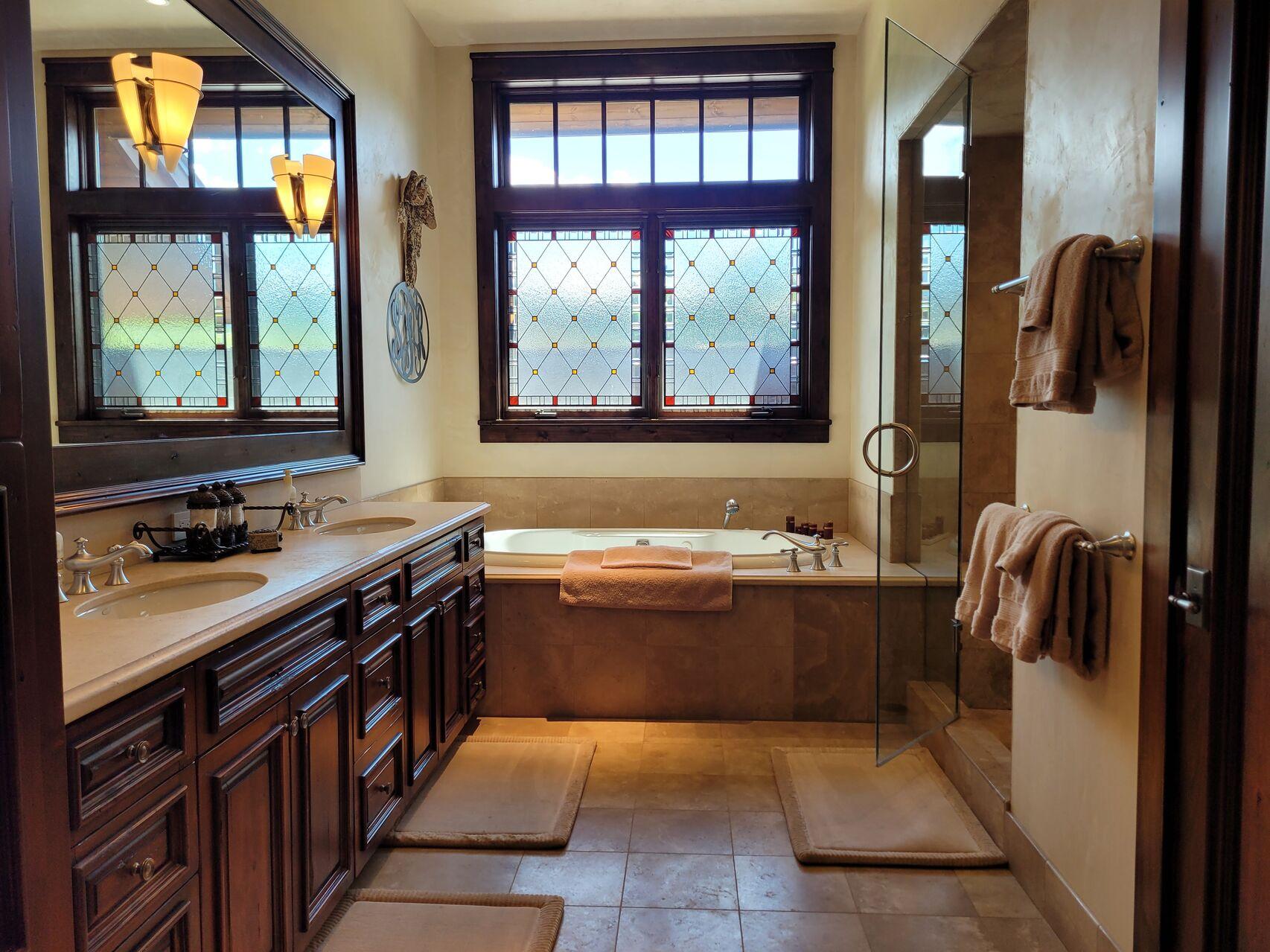 Large luxury bathroom with soaker tub