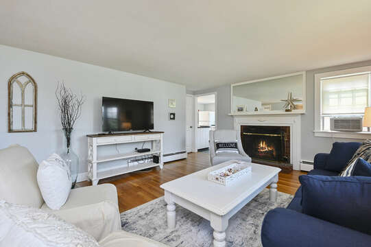 Living room, flat screen TV, couch and occasional chairs - 113 South Street Harwich Port - Cape Cod - New England Vacation Rentals