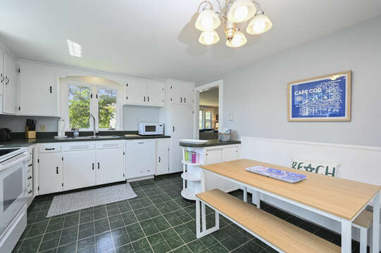 Kitchen with eat at bench style table - 113 South Street Harwich Port - Cape Cod - New England Vacation Rentals