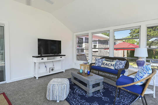 Sun room with sitting area and flat screen TV - 113 South Street Harwich Port - Cape Cod - New England Vacation Rentals