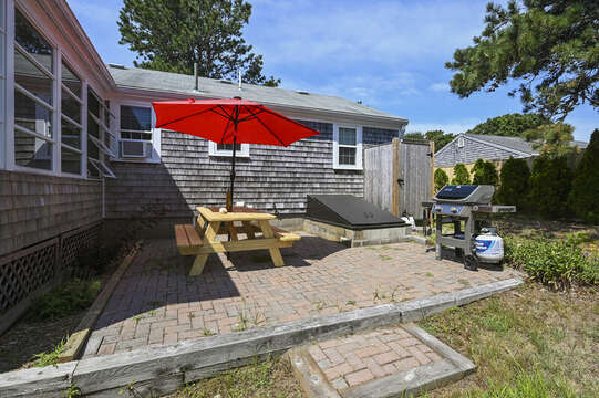 Patio with picnic table and gas grill - 113 South Street Harwich Port - Cape Cod - New England Vacation Rentals