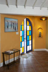 Beautiful stained glass entryway into the cottage.