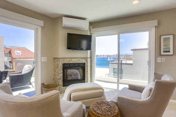 Sitting Area w/ Bay Views Off Master w/ Fireplace - 3rd Floor