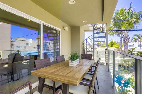 Outdoor Dining on Balcony Off Living Room w/ Bay Views - 2nd Floor