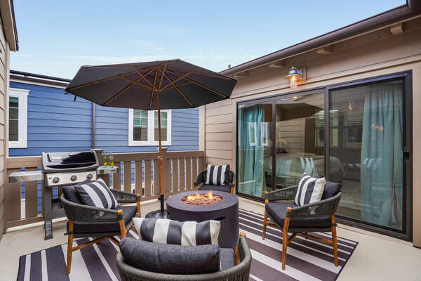 Private Deck w/ Fire Pit, Seating, & BBQ - 3rd Floor (Outdoor sofa not pictured)